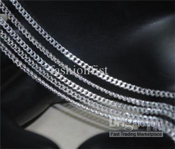 최고 품질 925 실버 체인 목걸이 쥬얼리 4MM 남성 925 실버 커브 체인 목걸이 매력 피가로 체인 보석