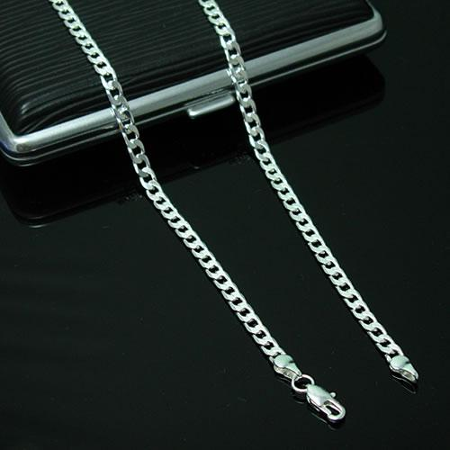 Top Quality 925 Silver Chain Necklace Jewelry 4MM Men 925 Silver Curb Chain Necklace charm figaro Chain Jewelry