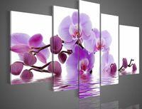 tuval resim setleri toptan satış-Çerçeveli 5 Panelleri Büyük Pembe Çiçekler Orchird Yağlıboyalar Tuval Wall Art Modern Set Deco Resim Ev Dekor