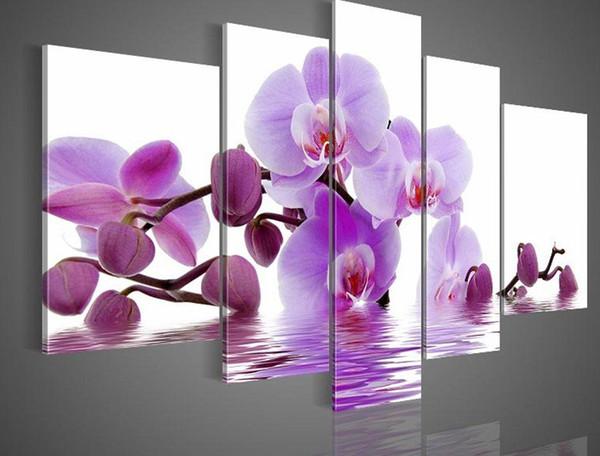 Encadrée 5 Panneaux Énormes Fleurs Roses Orchird Peintures À L'huile Mur De Toile Art Moderne Ensemble Déco Photo Décor À La Maison