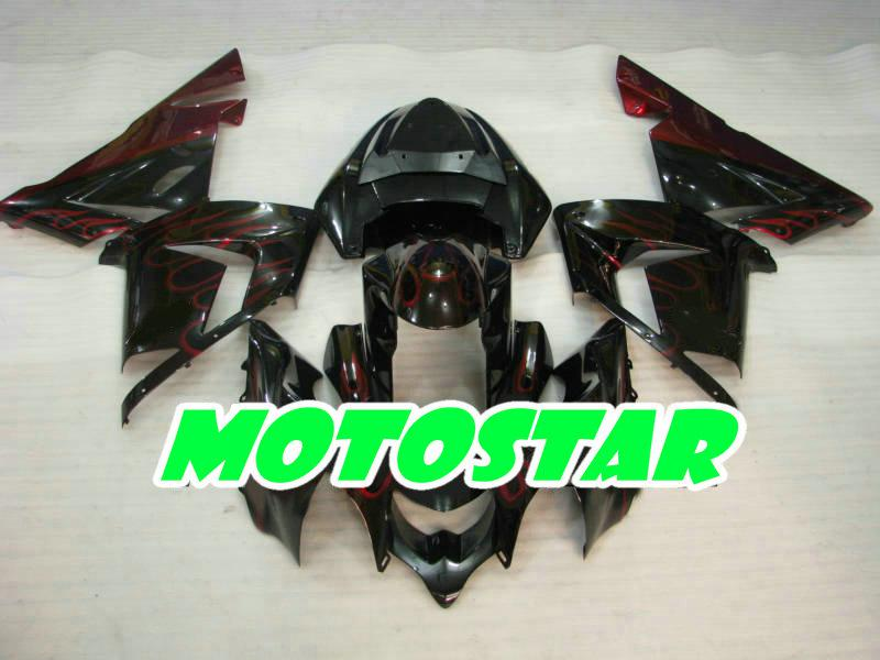 Injeciton fairing Kit for KAWASAKI Ninja ZX-10R 04 05 ZX 10R 2004 2005 ZX10R red flame & 2 gifts
