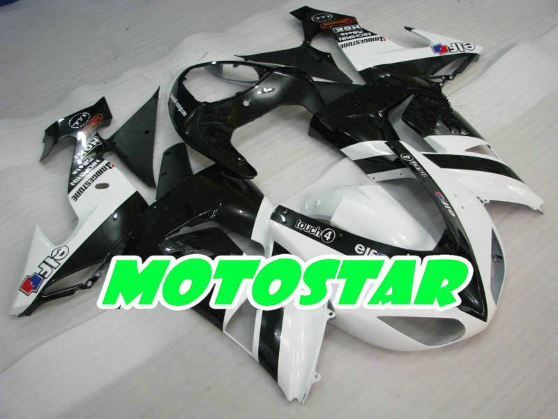 white blk ABS plastic parts for KAWASAKI Ninja ZX-10R 06 07 ZX 10R 2006 2007 ZX10R full fairing kit