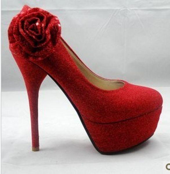 woman's shoe Roses wedding shoe Patent high heels bowknot waterproof platform High-heeled shoes