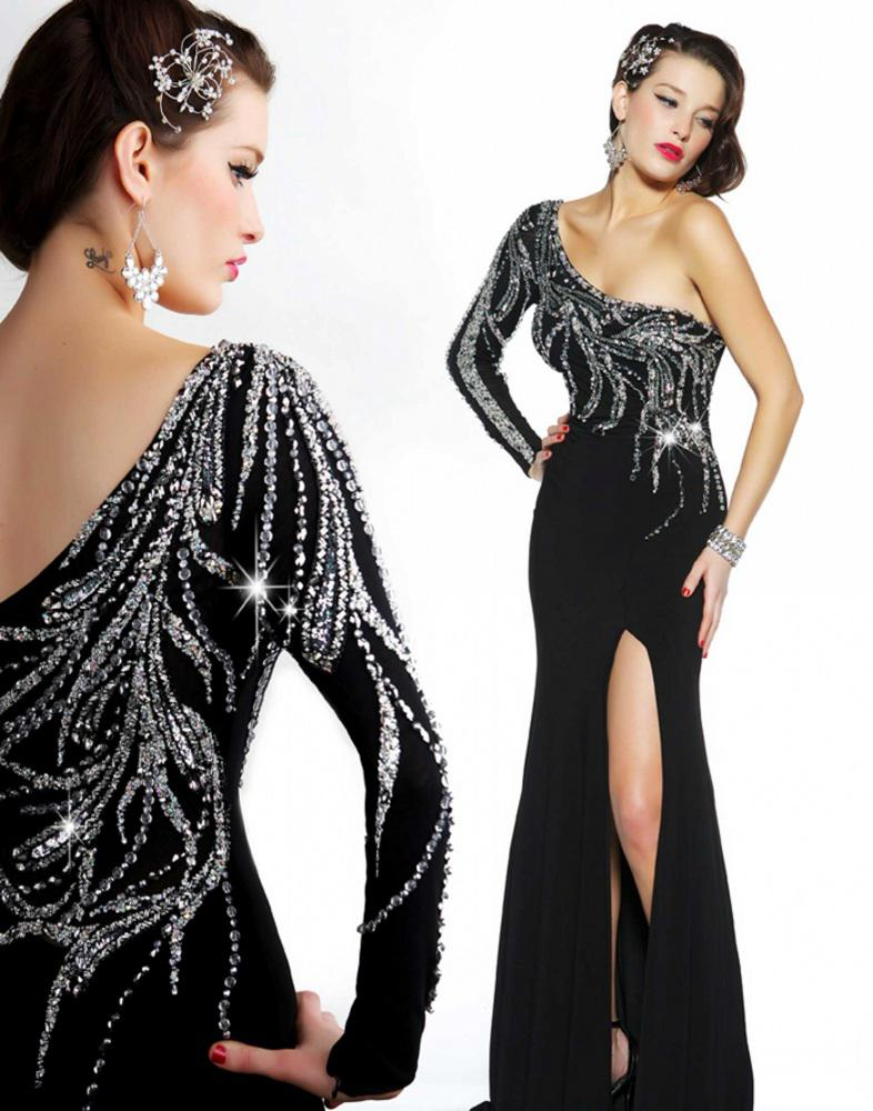 One Long Sleeve Dress Slanted Neckline Side Split Sequins Beaded ...
