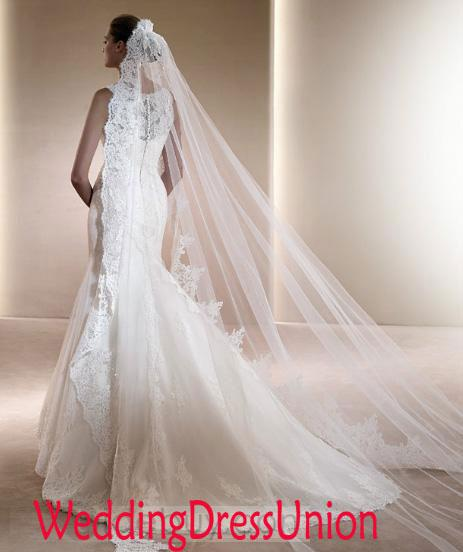Grand Cathedral Length Lace Edging And Decoration Wedding Veil Designer Bridal Veils Ivory From Mrchina 3514