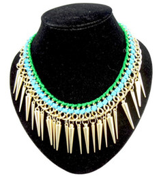Wholesale Gold Weave Necklace - idealway New Rivet Tassels Choker Necklace Gold Plated Tassels Ribbon weave China Necklace 2 colors 4Pieces lot