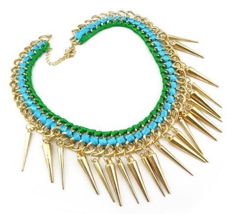 idealway новые заклепки кисточки колье заявление ожерелье позолоченные кисточки ленты переплетения фарфора ожерелье 2 цвета