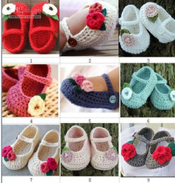 Wholesale Crochet Cute Baby Shoes - Cute flower leaves animal boys girls baby shoes cotton yarn handmade Crochet infant baby shoes