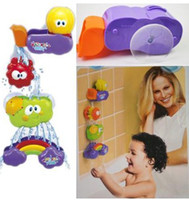 Wholesale Waterfall Tubs - Hot Sale Baby Bath Toy Waterfall Rainbow Set Water Poured Suction Cups Wall Tub Free Shipping