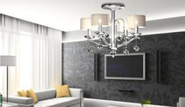 Wholesale Modern Contemporary Ceiling Lights - Free shipping Fashion simple fresh crystal ceiling lamps 5lights chrome bedroom living room lighting