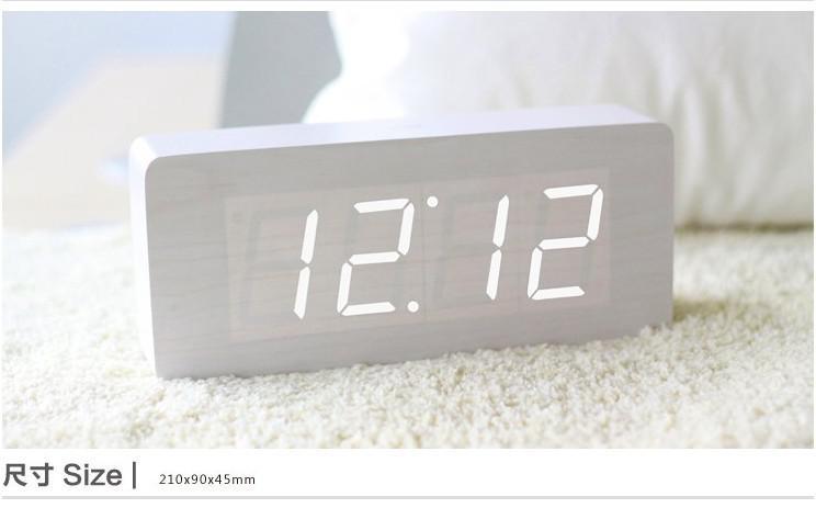 Modern White Clock Part - 17: 10pcs/lot Free Shipping Modern White Light Wooden Wood USB/AAA LED Digital  Alarm Clock VOICE (6016)