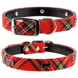 Wholesale Pink Blue Dog Collar - free shipping pet collar dog collar with bone cheap collar,red&Blue S M L 20pcs lot