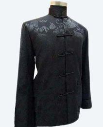 Chinese Kung Fu Jackets Canada - Chinese full dragon Men's Kung fu jacket coat black AH281C
