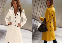 Wholesale Korea Women Long Sleeve - HOT! Fashion Korea Women's Before and after the open cut Winter Women's Trench Coats women's Outerwear black
