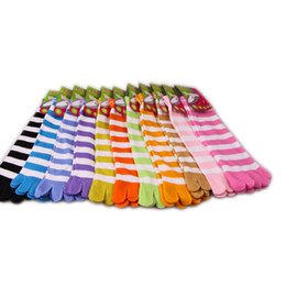 Wholesale Colorful Socks Toes - wholesale 5 pirs Cute Colorful Women's & Girl Color stripes five finger Toe Socks New Free Shipping