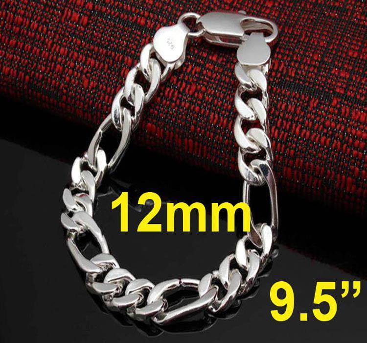 bijoux des hommes de la mode 925 argent 12MM hommes chaine Figaro 8.0-9.5 pouces