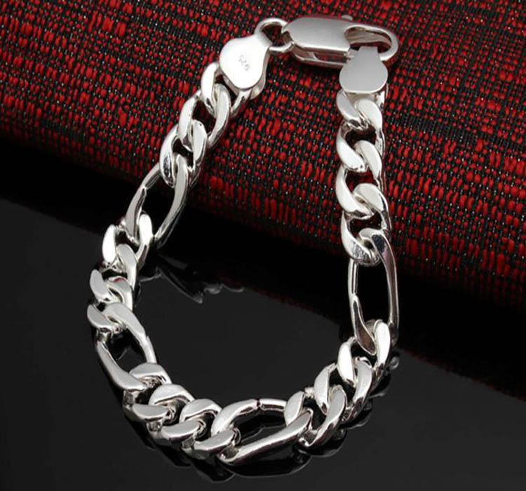 joyería de los hombres de moda 925 plata 12MM hombres pulsera de cadena Figaro 8.0-9.5 pulgadas