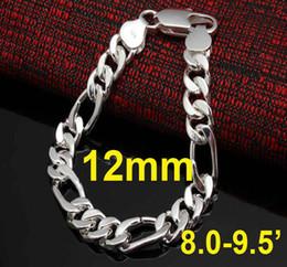 China 15pcs Fashion Men's Jewelry 925 Silver 12MM Men's Figaro Chain Bracelet 8.0-9.5inch cheap 925 bracelets 12mm suppliers