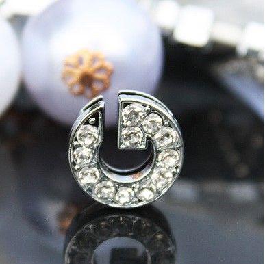 50st / parti 10mm g full rhinestones bling glidbrev diy legering charms passar för 10mm armband armband 0037