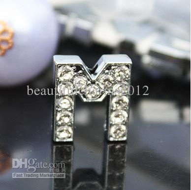 50 pçs / lote 10mm M Strass Completo Bling Carta Slide Liga DIY Acessórios Fit Para 10 MM pulseira pulseira chaveiros 0041