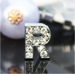 Wholesale Rhinestone Charm Sliders - 50PCS lot 10mm R Full Rhinestones Bling Slide Letter DIY Accessories Fit For 10MM Leather Bracelet Pet Collar Keychains SL015
