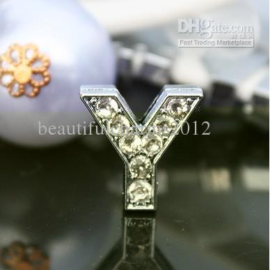 50 pçs / lote 10mm Y Strass Completo Bling carta de slides DIY Liga Acessórios Fit Para 10 MM pulseira pulseira 0051