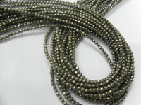 """Wholesale Round Pyrite Beads - Faceted Pyrite 2mm Rond Beads 16"""" per string Free Shipping"""