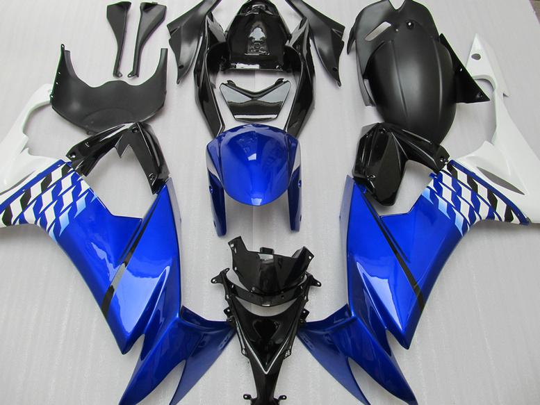 Blue Black Fairing Kit voor Kawasaki Ninja ZX-10R ZX 10R 08 09 10 11 ZX10R 2008 2009 2010 2011 Verkeuringsset