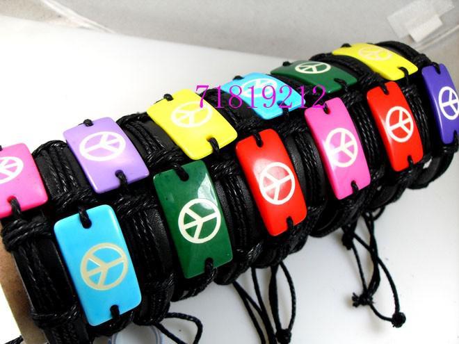 mezcla de colores signo de la paz de cuero pulseras al por mayor de moda las porciones de trabajo joyería
