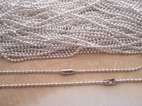 Wholesale Ball Chain Silver Connector - Wholesale-- 2.4mm 27inch Plated Silver ball necklace chain with matching connector 100pcs lot