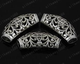 Wholesale Heart Shaped Pendant Scarf - DIY vintage Tibetan silver heart shaped hollow pendant connector pendant scarf accessories 36mm*16mm