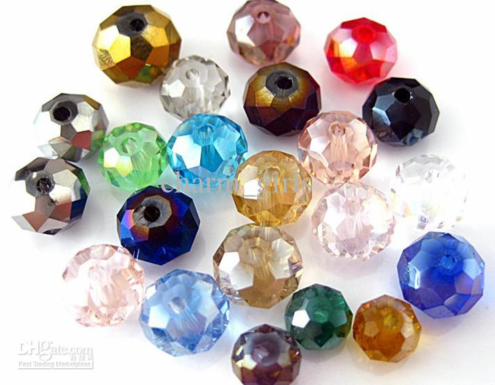 1000 adet * 4mm-12mm Faceted Roundlle Avusturya Kristal Boncuk Charms Gevşek Boncuk DIY kristal Boncuk