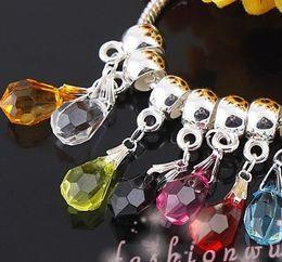 Wholesale Plastic Heart Charms - 100pcs lot Hot sell Facet transparent Teardrop Dangle Big Hole Beads Fit European Charm Bracelet 14mm*8mm Loose Beads