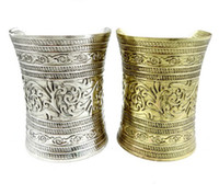 Wholesale Tibet Silver Carved Flowers - Tibetan Style Tribal Retro Carving Flower Wide Bangle vintage silver bronze metal 6pcs lot