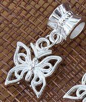 linda europeia venda por atacado-100 pçs / lote Banhado A Prata Oco Borboleta Bonita Grande Buraco Liga Europeia Charme Beads 12.8x26mm B1111 Jóias DIY