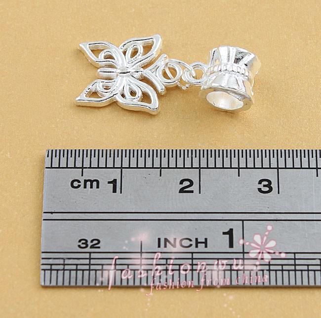 100 pçs / lote Banhado A Prata Oco Borboleta Bonita Grande Buraco Liga Europeia Charme Beads 12.8x26mm B1111 Jóias DIY