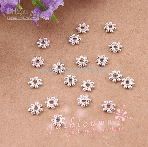 2000 stks / partij Verzilverd Daisy Spacer Beads Spacers 4mm Sieraden Bevindingen Componenten Sieraden DIY Heet Verkopen