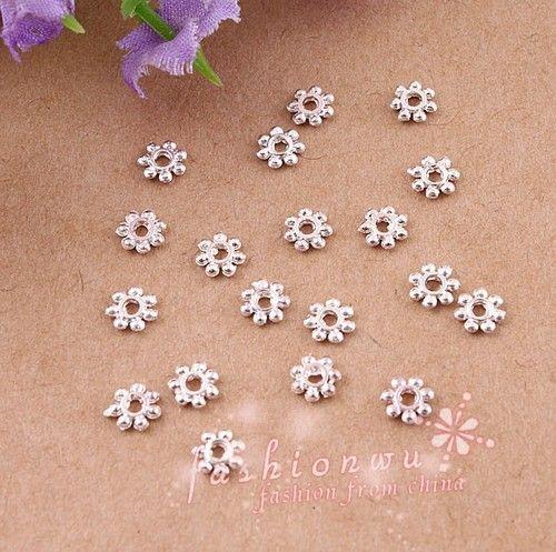 / silverpläterade daisy spacer pärlor spacers 4mm smycken fynd komponenter smycken diy hot sälja
