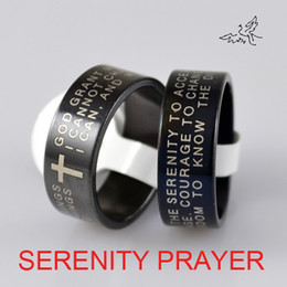 Wholesale Serenity Prayers - 30pc lot Black ENGLISH SERENITY PRAYER Cross Ring Stainless Steel Rings Fashion Religious Jewelry