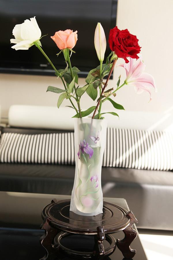 Ems Free Pvc Folding Flower Vase Pvc Vase Foldable Plastic Vase Handreds Designs Mix Vases For