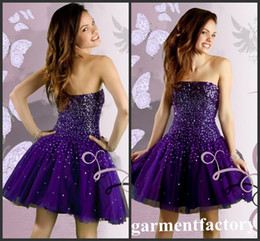 Wholesale Strapless Champagne Short Dress Sale - Hot Sales Homecoming Dresses 2015 Strapless A-line Sparkly Sequins Purple Tulle Short Prom Dresses Girls Party Dresses