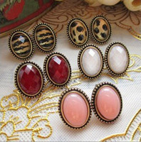 Wholesale Cheap Studs For Sale - For sale Jewelry super cheap sexy retro oval leopard earrings wholesale findings.50pairs(100pcs) lot