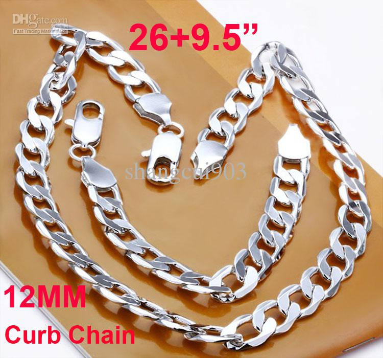 """Bold Men's jewelry 925 Silver 12MM Flat Curb Chain Necklace26-30Inch with Bracelet9.5"""""""