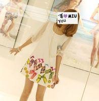 Wholesale Ladies Thin Skirts - Hot New Women's Ladies Short-sleeved loose chiffon skirt bow was thin print dress Women's Clothing 396