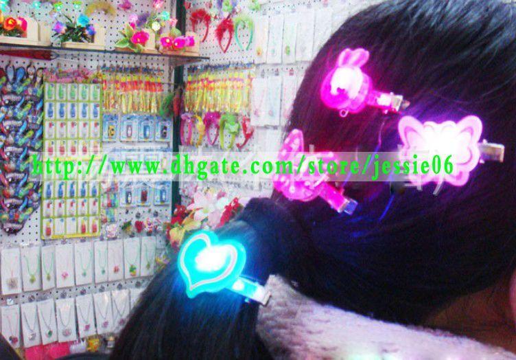 Party favors LED flash Magic Cartoon Barrettes Hair Clip Light-up HairClips change colors headband hairand brooch jewelry birthday weeding