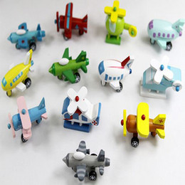 Wholesale Model Plane Design - Home Baby Toys Wood Plane Model Children Wooden Aircraft Toys 12 Design Airplane Set Free Shipping