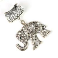 indien elefanten großhandel-Schals Zubehör Anhänger Schmuck Set-Indien Elefant mit Steinen 12pcs / lot, PT-628