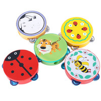 Wholesale Tambourine Pattern - Hot ECO Friendly Wholesale Beat Percussion Musical Instruments Hand Drum Cartoon Pattern Baby Wooden Tambourine Toys