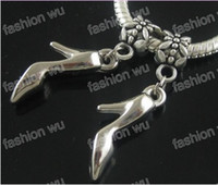 Wholesale High Heel Dangle Charms - CCB High Heels Shoes Big Hole Beads 150pcs lot Dangle Fit European Charm Bracelets 35mmx6mm B240