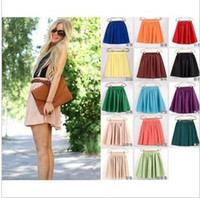 Wholesale Double Layered Skirt - Women Ladies Girl High Waist Pleated Double Layered Sheer Short Chiffon Skirts